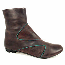 LUNDI BLEU Brown with Teal Asymmetric Piping Short Walking Boots Women's US 8.5