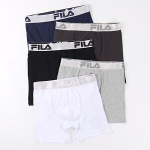 5 Pack FILA mens Sporty Comfy Cotton Boxer Briefs size S-XL