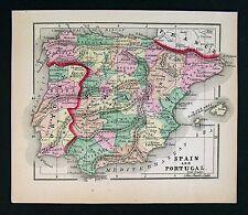 1857 Morse Map - Spain & Portugal - Madrid Barcelona Lisbon Oporto Toledo Braga