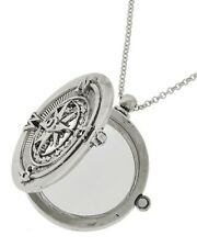 SILVER TRAVEL Magnifying Glass 5X Magnifier Necklace Rhodium Compass Charm
