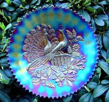 "NORTHWOOD""CARNIVAL GLASS""PEACOCKS ON THE FENCE""c1911""AMETHYST""9""PLATE""VERY MINTY"