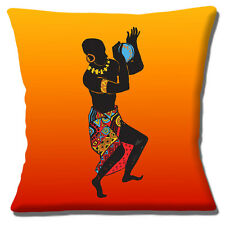 Male African Dancer Cushion Cover 16 inch 40cm Ethnic Design Orange Yellow Shade