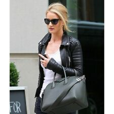 Rosie Huntington Whiteley Black Leather Quilted Jacket For Women