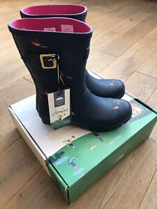 BNIB Joules Womens Molly Mid Height Printed Wellies - Teal Pheasant UK 5/38 NEW!