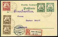 Marianen Mi 7/9  GS-Karte als Einschreiben von Saipan nach Berlin 1906