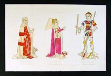 1843 Shaw Print - Duke Henry & Isabella Beauchamp of Warwick - Queen Anne 15th c