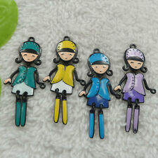 free ship 52 pieces alloy enamel mixed colors girl charms pendant 60x27mm #4495