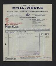 BERLIN, Rechnung 1937, EFHA-Werke Faupel & Haake KG Schinken Wurst Speck