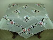 "Elegantlinen Embroidered Handmade Flower Rhine Stone Fabric 36x36"" Tablecloth"