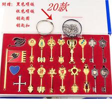 20Pcs Fairy Tail Lucy Heart Celestial Spirit Gate Key Chain Necklace Pendant Set