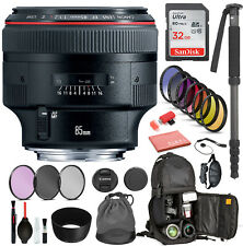 Canon EF 85mm f/1.2L II USM Lens  with Professional Bundle Package Deal Kit for
