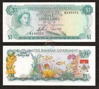 BAHAMAS 1 Dollar 1965 P-18a Queen Elizabeth QE II UNC Uncirculated