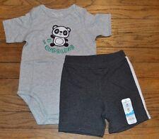 18 Month Fuzzy Panda Outfit Short Sleeve Bodysuit & Shorts Set I Love Cuddling
