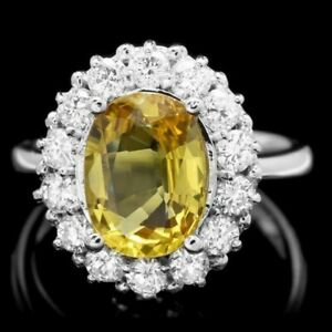 Certified 3.50cttw Yellow sapphire With 1.20cttw Diamond 14KT White Gold Ring