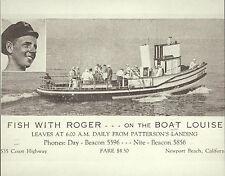 "NEWPORT BEACH Patterson's Landing Fishing Ad VINTAGE Photo Print 1474 11"" x 14"""