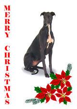 GREYHOUND SINGLE DOG PRINT GREETING CHRISTMAS CARD