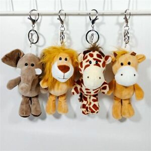Plush Key Chains Soft Lion Elephant Tiger Forest Animal Stuffed Small Key Ring