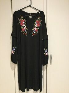 LADIES DRESS, DOROTHY PERKINS SZ 14, BLACK WITH FLORAL & DOTS, LIKE NEW