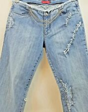 Vintage Apple Bottoms Destroyed Boot Cut Jeans w/silver toned chains Size 10