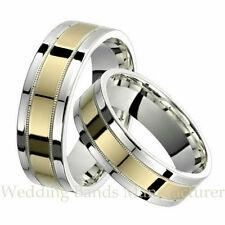 10K WHITE YELLOW TWO TONE GOLD HIS HERS MATCHING WEDDING RINGS MILGRAIN BAND SET