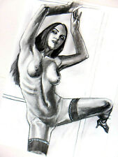 Original Hand DRAWING Vintage Collectible Nude PRINT ON PAPER signed