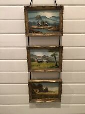 Set Of 3 Miniature Oil Paintings - Landscape Scene With Gold Ornate Frames
