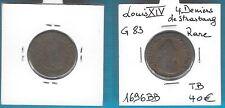 LOUIS XIV  4 DENIERS DE STRASBOURG RARE1696 BB