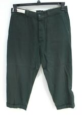 Army Chino Button Fly 34x26 Sanforized Vintage Workwear pants mens cuffed green
