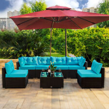 7 PCS Outdoor Patio Garden Furniture Sectional Rattan Sofa Set with Table Blue