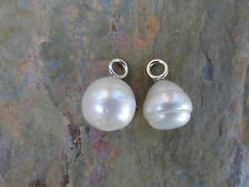 14 KT White Gold & Paspaley South Sea Pearl Add to Hoop Earring Charm NEW 12MM