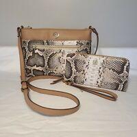 NWT Anne Klein Crossbody Bag Handbag W/ WALLET Snake Skin Print Leather Purse