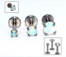 Steel Bar WHITE OPAL Prong Labret Stud Cartilage Triple Helix Conch Tragus Bar