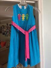 The Bailey Boys blue corduroy boutique dress 3 girls applique ribbon tie Size 4