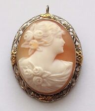 14K BEAUTIFUL VINTAGE TWO TONE GOLD CARVED LADY CAMEO PIN/PENDANT/BROOCH