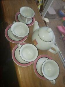 Vintage Mattel Barbie China Teapot W 4 Cups And Saucers 10 Pieces Excellent...
