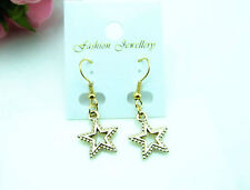 star drop Earrings dangle hook gold gift hanging dangle crystal hollow open gift