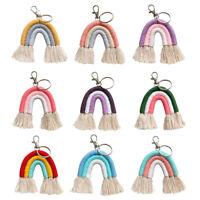 Boho Macrame Weaving Rainbow Key Chains Car Keyring Bag Tassel Hanging Decor