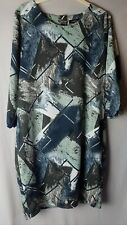B Young Denmark Womens Dress Size 10 DK 38 Blue Green Grey Pattern Tunic Style