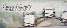 """Metal and Glass Curved Candle Holder Stand Rustic Bronze Brown 12 1/2"""" x 4 1/2"""""""