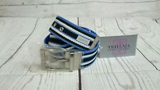 NWT Tehama Golf Canvas Striped Belt S/M White Navy Blue, w/Silver Buckle