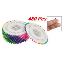 "480Pcs 1.5"" Sewing Locating Straight Pins Ball Head Needles Colorful Pearl"