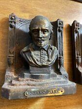 Antique Bradley Hubbard Usa Cast Iron Bronze Shakespeare Bust Art Book Bookends