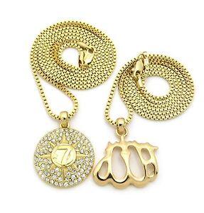 MENS GOLD SILVER ALLAH FIVE PERCENTER ISLAM PENDANT BOX CHAIN NECKLACE