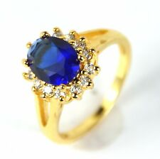 Women's 24 Carat gold plated Royal blue crystal ring Jewellery UK Size L