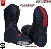 MENS BLACK & RED MOTORBIKE / MOTORCYCLE CE RACING LEATHER SPORTS SHOES / BOOTS