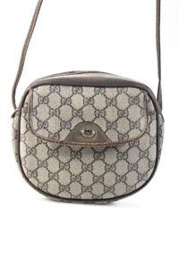 Gucci Coated Monogram Canvas Circular Crossbody Handbag Gray
