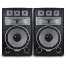 "2x Vonyx 15"" Tx15 Professional DJ PA Party Speakers Sound Setup 1000w"