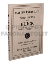 Buick Body Parts Book 1941 1940 1939 1938 1937 1936 1935 1934 1933 Part Catalog