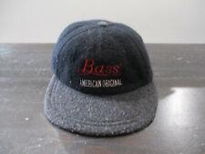 VINTAGE Bass Beer Hat Cap Black Gray Strap Back Adjustable Bar Mens 90s