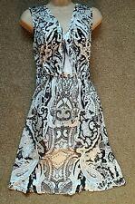 One World Black/White Sleeveless Dress size M (12-14)